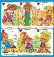 6 CARTES DU JEU DES 7 FAMILLES LES GAMINS DE PARIS FAMILLE LE LUXEMBOURG ( GRAND FORMAT 100 MM X 65 MM ) - Cartes à Jouer Classiques