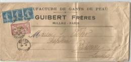 MERSON 1FR+ SEMEUSE 25CX3 LETTRE MILLAU 1921 POUR SUISSE TARIF ECHANTILLON - Postmark Collection (Covers)
