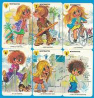 6 CARTES DU JEU DES 7 FAMILLES LES GAMINS DE PARIS FAMILLE MONTMARTRE ( GRAND FORMAT 100 MM X 65 MM ) - Carte Da Gioco