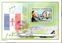 PORTE AVIONS PAN CHARLES DE GAULLE - Concorde - Bloc Neuf** République Centrafricaine - Marcophilie (Lettres)
