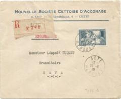 N° 252 TYPE 1 SEUL LETTRE REC SETE 26.5.1928 AU TARIF SUPERBE - Marcofilia (sobres)