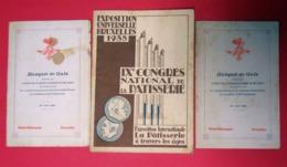 1935 Bruxelles IX° Congrès National De La Pâtisserie Brochure+2 Menus éditeur Imp Patrons Pâtissiers 21x15 Cms - Historische Dokumente