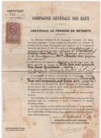 Certificat De Pension De Retraite/ Compagnie Générale Des Eaux/ Rente Annuelle / Chevalier-Bouché/1913           VPN263 - Ohne Zuordnung