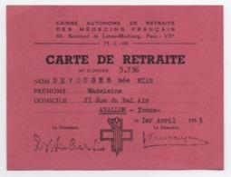 Carte De Retraite/ Caisse Autonome De Retraite Des Médecins Français/ Paris/ Devouges/ AVALLON/Yonne/ 1953   VPN266 - Ohne Zuordnung