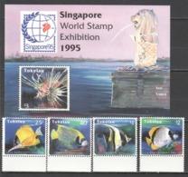 W147 TOKELAU FISH & MARINE LIFE SINGAPORE STAMP EXHIBITION 1995 1SET+1BL MNH - Vie Marine