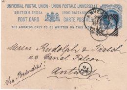 INDE 1890    ENTIER POSTAL/GANZSACHE/POSTAL STATIONERY CARTE DE BOMBAY - 1882-1901 Empire