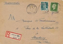 """ETIQUETTE RECOMMANDATION Allemande Sur Lettre Afft GANDON 713 + DULAC 694 Obl """" ALTKIRCH HAUT-RHIN ../5/45 """" - Marcofilia (sobres)"""