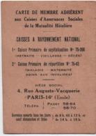 Carte De Membre Adhérent/ Caisses D'Assurances Sociales De La Mutualité Hôteliére/ Paris//1937   VPN270 - Ohne Zuordnung