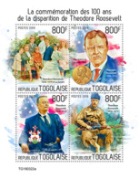 Togo 2019  Theodore Roosevelt,   Nobel Peace Prize  S201908 - Togo (1960-...)