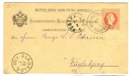 Gross-Wisternitz Velka Bistrice Clear Handstamp On 5 Kr Ganzsacnhe 1885 Sent To Denmark - Storia Postale