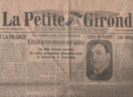 LA PETITE GIRONDE 18 02 1921 - TENOR CARUSO - POLOGNE & FRANCE - INFLATIONISME - COTON - LOUISE THULLIEZ WIHERIES - RHUM - Journaux - Quotidiens