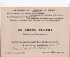 Militaria/Carte/demande De Don/Les Oeuvres De L'Enfant Du Soldat/Maurice Comte Fleury/Pdt-Fondateur/1900-1920  VPN269 - Ohne Zuordnung