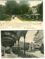 2 Postcards Karlovy Vary Karlsbad Café Freundschaftssaal + Colonnade 1904-07 - Tschechische Republik