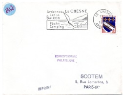 ARDENNES - Dépt N° 08 = LE CHESNE 1963 = FLAMME Non Codée = SECAP  Illustrée ' LAC BAIRON PECHE CAMPING  ' - Oblitérations Mécaniques (flammes)