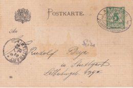 BAYERN 1896    ENTIER POSTAL/GANZSACHE/POSTAL STATIONERY CARTE DE NUERNBERG - Bavière