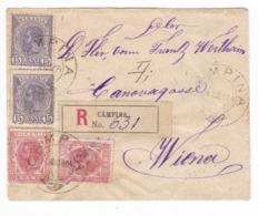 173/30 - Enveloppe Recommandée TP Roumanie CAMPINA 1904 Vers VIENNE - 1881-1918: Charles I