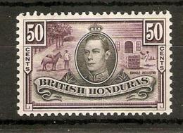 BRITISH HONDURAS 1938 50c SG 158 LIGHTLY MOUNTED MINT Cat £40 - Britisch-Honduras (...-1970)