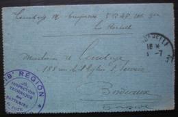1917 Cachet 18e Région Inspection Technique De Batteries De Cote, Lettre Du 3em R A P De La Rochelle - Guerre De 1914-18