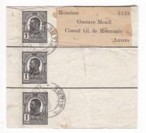 176/30 - Entier Postal Roumanie - Triple Bande De Journaux BUCURESCI ZIARE Vers ANVERS Belgique - 1881-1918: Charles I