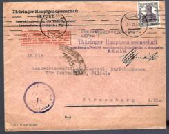 LETTRE D' ERFURT - 1919 - HANDELSKORRESPONDENZ - THÜRINGER HAUPTGENOSSENSCHAFT -CENSURÉE - ZENSUR - CENSORSHIP -POST - Germania