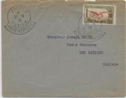 1919 - TUNISIE - ENVELOPPE De ZARZIS Avec RARE OBLITERATION SPECIALE POSTE AERIENNE => BEN GARDANE - 1927-1959 Lettres & Documents