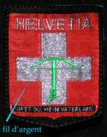 Patch Écusson Tissu Touristique : Suisse - Helvetia - Arbalète - Ancien Hymne National - Rufst Du, Mein Vaterland - Patches