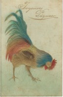 Joyeuses Pâques - COQ - Superbe CPA Gaufrée - Animaux & Faune