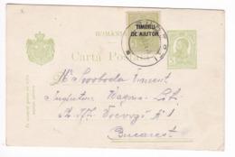 179/30 - Entier Postal Roumanie + Timbru De Ajutor ( Bienfaisance) - BUDESTI 1915 Vers BUCAREST - 1881-1918: Charles I