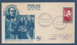France - FDC - Premier Jour - Baron Haussmann - Paris - 1952 - 1950-1959
