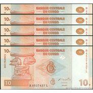 TWN - CONGO DEM. REP. 93a - 10 Francs 30.6.2003 DEALERS LOT X 5 H-L (G&D) UNC - Congo