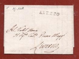 AREZZO 21 MAGGIO 1828  LETTERA AUTOGRAFA  DEL  VESCOVO SEBASTIANO MAGGI PER LIVORNO - Autographs