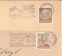 """1934 / 1948 Jeux Olympiques De Garmisch-Partenkirchen: 2 """"flammes-annonce"""" - Winter 1936: Garmisch-Partenkirchen"""