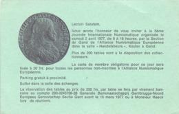 Uitnodiging 5° Numismatische Ruilbeurs - Gent 1977 - Tickets D'entrée
