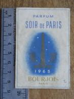 Carte Parfumée - BOURJOIS - Parfum Soir De Paris, Calendrier 1965 - Perfume Cards
