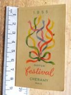 Carte Parfumée - Festival De CHERAMY - Pub Coiffure BATAILLE 37 Château Lavallière - Calendrier 1955 - Perfume Cards