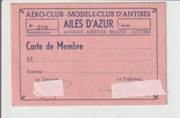 """AIATION / CARTE DE MEMBRE """"AERO CLUB """"AILES D'AZUR"""" D'ANTIBES - Autres"""