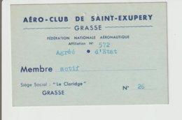 """AIATION / CARTE DE MEMBRE """"AERO CLUB """" DE SAINT EXUPERY / GRASSE / 1962 - Autres"""