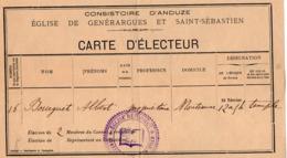 VP15.777 - RARE - Carte D'Electeur - Consistoire D'ANDUZE - Eglise Réformée De GENERARGUES & SAINT - SEBASTIEN - Cartes