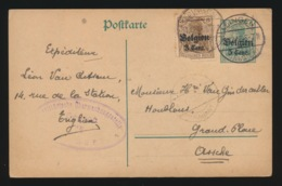 EDINGEN  LEON VAN CUHEM       - DUITSE CONTROLE STEMPEL 1917 - NAAR ASSE -  ZIE 2 AFBEELDINGEN - Asse