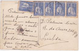 Portugal Postcard To Lisboa- 1923- 3C Ceres- BIG Cliches- MARCOFILIA LUSO READ (pt-151) - 1910-... République