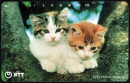 CATS - JAPAN - NTT -  TELEPHONE CARD 105 - TWO KITTENS - USED - Gatti