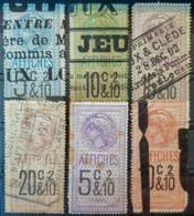 FRANCE 1891/1910 - Canceled - Timbres Affiche - YT 13-18 - Fiscaux