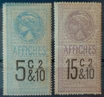 FRANCE 1891 - MNH - Timbres Affiche - YT 13, 15 - Fiscaux