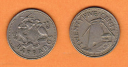 BARBADOS  25 CENTS 1973 (KM # 13) #5455 - Barbados (Barbuda)