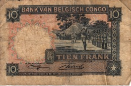 Thematiques Belgique  Banque Du Congo Belge Dix Francs Bank Van Belgish Congo Date 11 11 48 - [ 5] Belgian Congo