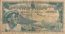 Thematiques Belgique  Banque Du Congo Belge Et Ruanda Urundi Vingt Francs Bank Van Belgish Congo Date 01 12 56 - [ 5] Belgian Congo