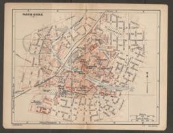 CARTE PLAN 1921 - NARBONNE BOULEVARD EXTERIEUR MARCHE Aux BESTIAUX CASERNE D'INFANTERIE MUSEE LAPIDAIRE - Topographical Maps