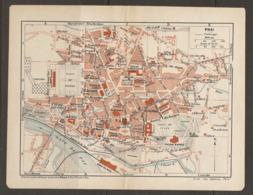 CARTE PLAN 1920 - PAU PALAIS D'HIVER GARE DE PAU CENTRE PRISON HALLES CINEMA PLACE De VERDUN - Topographische Karten