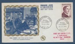 France FDC - Premier Jour - Paul Valéry - Sète - 1954 - FDC