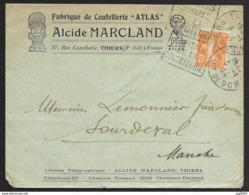 Enveloppe Fabrique De Coutellerie Thiers Avec Cachet Daguin De Thiers Puy De Dome - Marcophilie (Lettres)